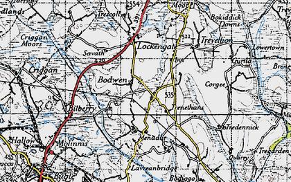 Old map of Bodwen in 1946