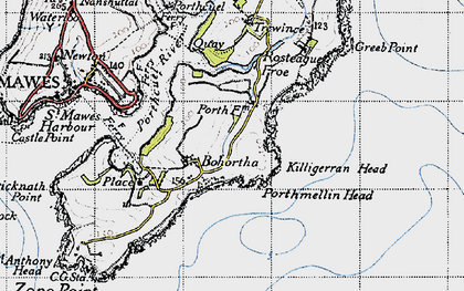 Old map of Bohortha in 1946