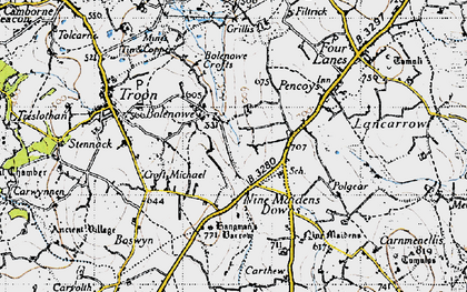 Old map of Bolenowe in 1946