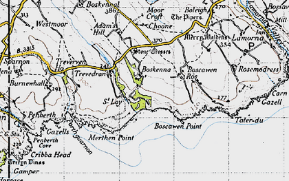 Old map of Boskenna in 1946