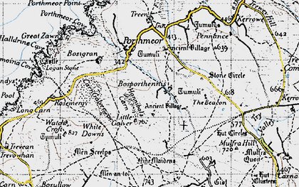 Old map of Bosporthennis in 1946