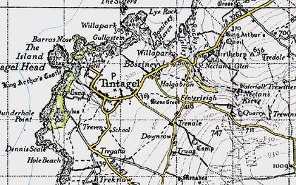 Old map of Bossiney in 1946