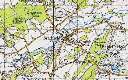 Old map of Bradfield in 1945