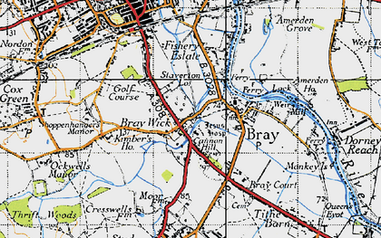 Old map of Bray Wick in 1945
