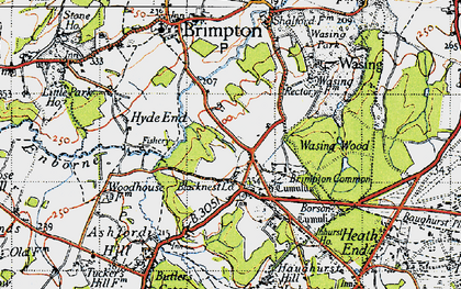 Old map of Brimpton Common in 1945