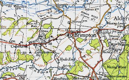 Old map of Brimpton in 1945