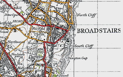 Old map of Broadstairs in 1947