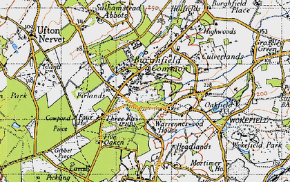 Old map of Burghfield Common in 1945