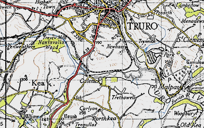 Old map of Calenick in 1946