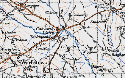 Old map of Canworthy Water in 1946