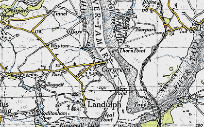 Old map of Cargreen in 1946