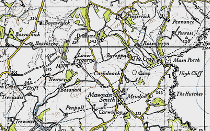 Old map of Carlidnack in 1946