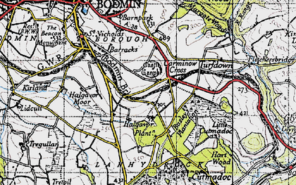 Old map of Carminow Cross in 1946