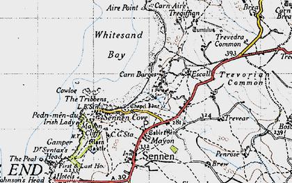 Old map of Carn Keys in 1946