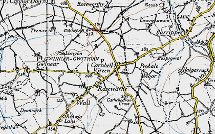 Old map of Carnhell Green in 1946