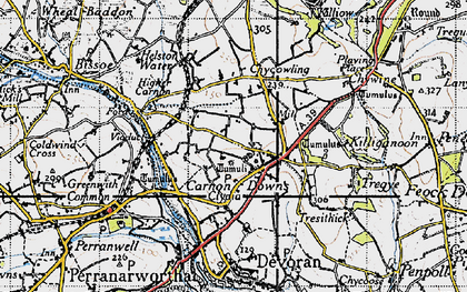 Old map of Carnon Downs in 1946
