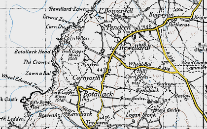 Old map of Carnyorth in 1946