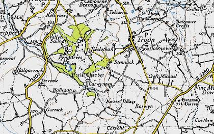 Old map of Carwynnen in 1946