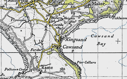 Old map of Cawsand in 1946