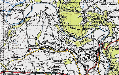 Old map of Chilsworthy in 1946