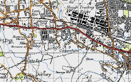 Old map of Cippenham in 1945