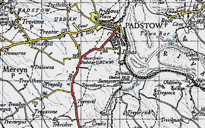 Old map of Dinas in 1946