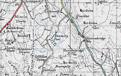 Old map of Dozmary Pool in 1946