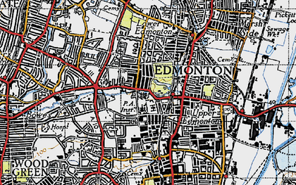 Old map of Edmonton in 1946