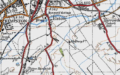 Old map of Elstow in 1946