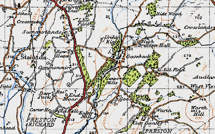 Old map of Endmoor in 1947
