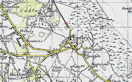 Old map of Fawley in 1945