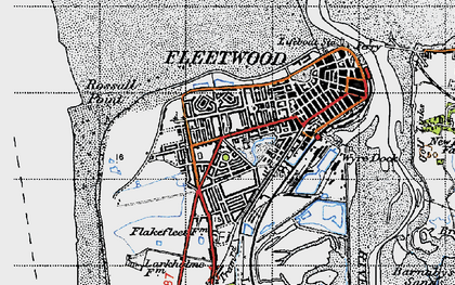 Old map of Fleetwood in 1947