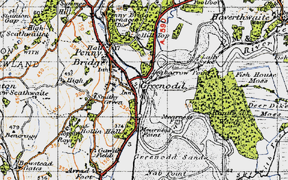 Old map of Greenodd in 1947