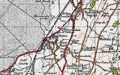 Old map of Hest Bank in 1947