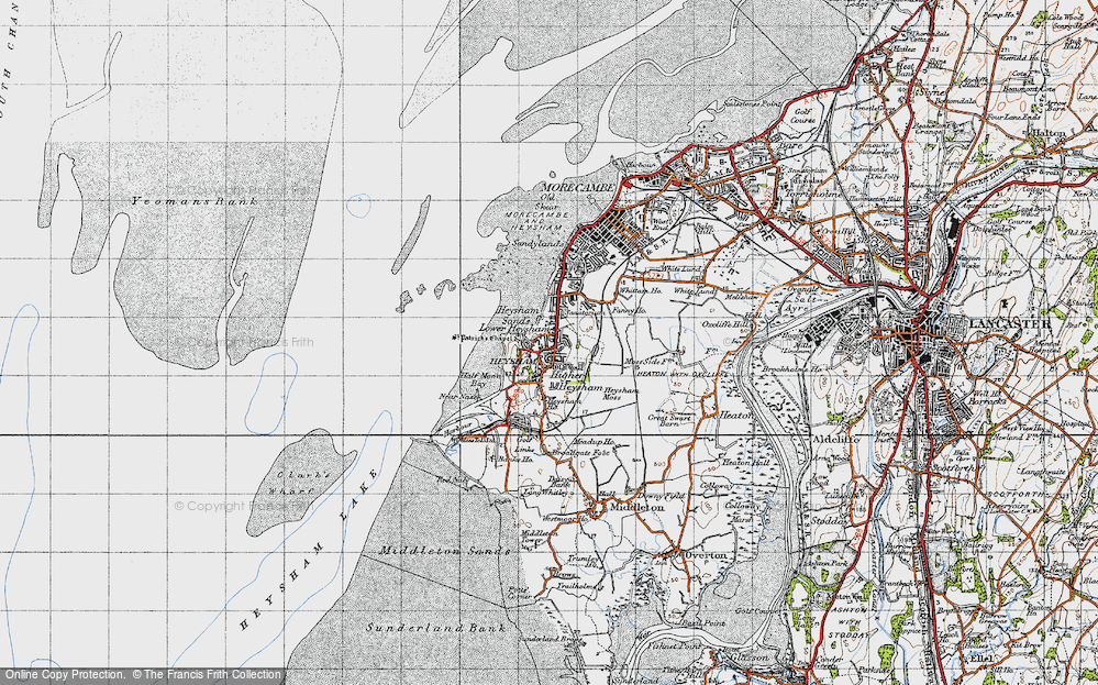 Old Map of Map of Heysham in 1947