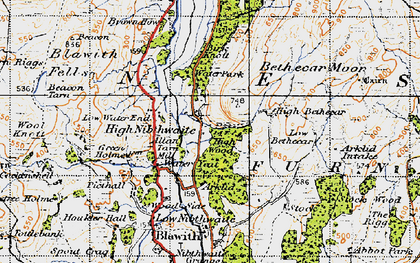 Old map of High Nibthwaite in 1947