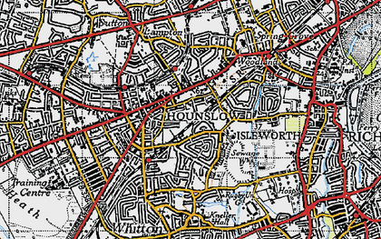 Old map of Hounslow in 1945