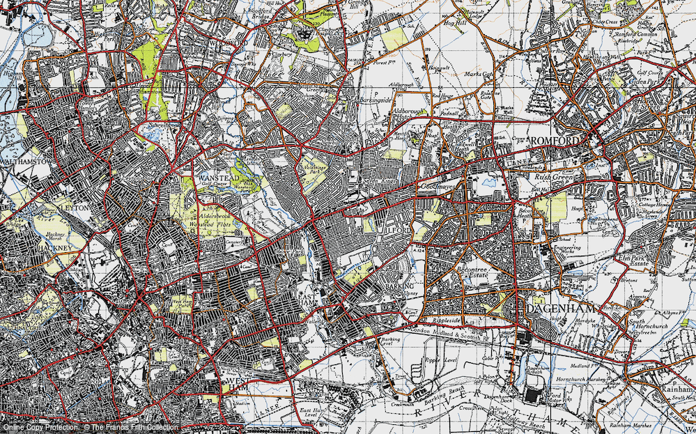 Old Map of Map of Ilford in 1946