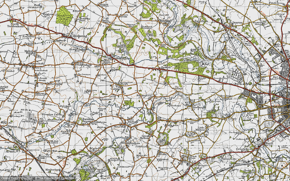 Map of Marlingford in 1945