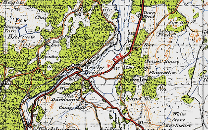 Old map of Newby Bridge in 1947