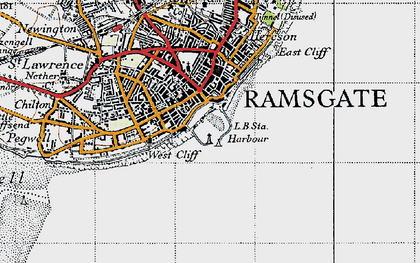 Old map of Ramsgate in 1947