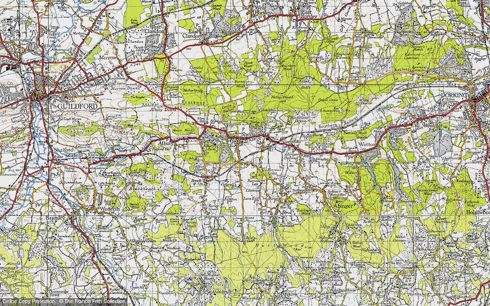 Old Map of Map of Shere
