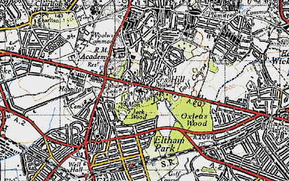 Old map of Shooters Hill in 1946