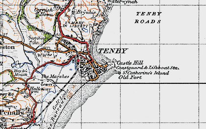 Old map of Tenby in 1946