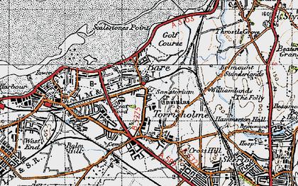 Old map of Torrisholme in 1947