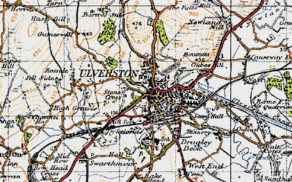 Old map of Ulverston in 1947