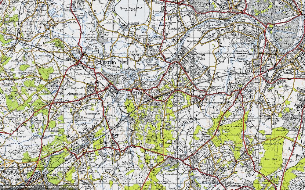 Old Map of Map of Weybridge in 1940