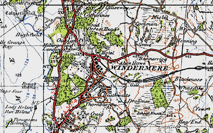 Old map of Windermere in 1947