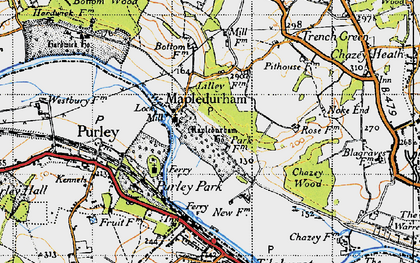 Old map of Mapledurham in 1947