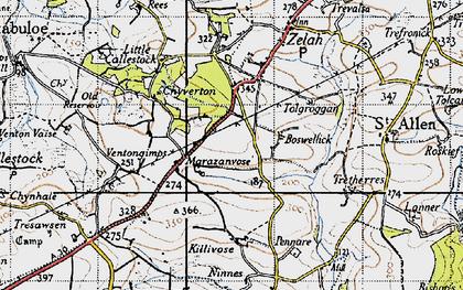 Old map of Marazanvose in 1946
